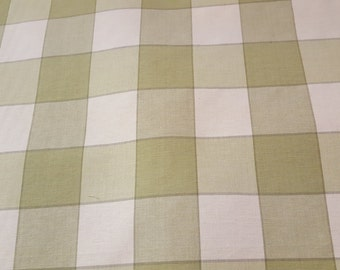 Roth and Thompkins SAGE GREEN Cream  PLAID Cotton Drapery Upholstery Fabric, 14-58-91-0415