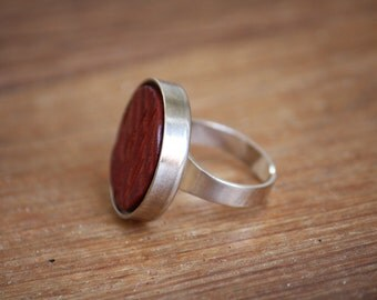 Red Leather Statement Ring