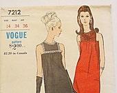 1960s Dress pattern, long formal evening, short, sleeveless dress, Vogue Special Design 7212 misses size 14 bust 34, vintage sewing pattern