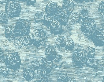WONDERLAND by Katarina Roccella, Owly Blue  - AGF  1/2 Yard
