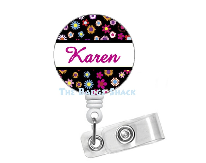 Personalized Flower 1.5  Mylar Covered Badge - ID Badge Holder - Badge Reel - Name Badge - Cute Badge Reel - Teacher Badge Holder - RN Badge