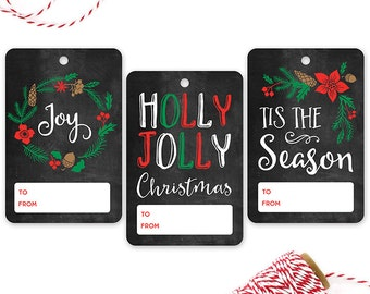 PRINTED Chalkboard Gift Tags {with Red and Green} - Set of 12