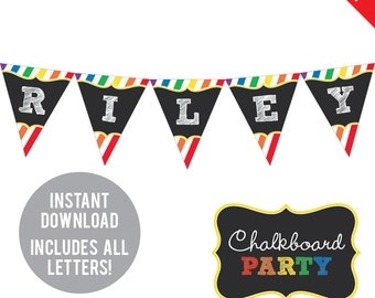 INSTANT DOWNLOAD Rainbow Chalkboard Party - DIY printable pennant banner - Includes all letters, plus ages 1-18
