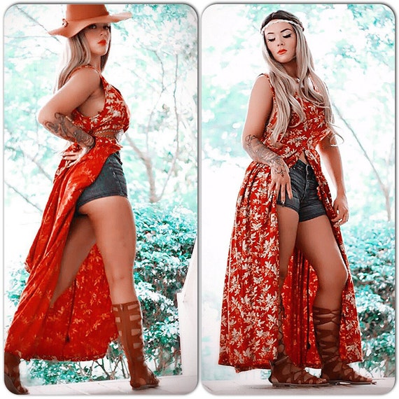 Vintage retro grunge Kimono dress, Boho Kimono, Red 90's duster kimono, Gypsy music festival looks 2016, floral kimono, True rebel clothing