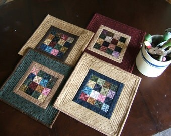 "Set of Four Quilted 13 1/2"" Table Mats Sixteen Patch  /Item #18"