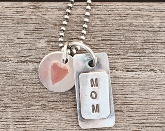 MOM hand stamped sterling Charm with Sterling and Copper Heart mini charms on Oxidized 20 inch ball chain