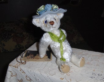 "collectable artist teddy bear, 8""  Matilda, jointed, glass eyes,one of kind"