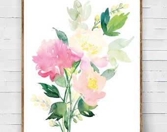Art Print Floral Bouquet Greens and Pinks