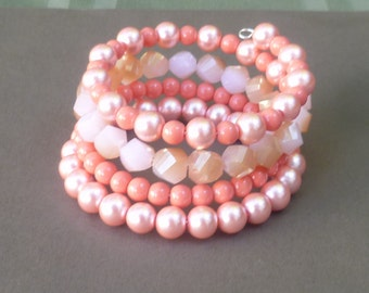 memory wire Bracelet- Hand crafted beaded bracelet-wrap around bracelet-Coral Beaded bracelet-