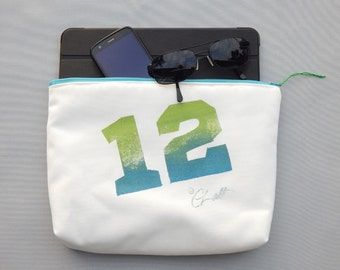 "EVERYTHING BAG 12th Man zippered case tablet cosmetic makeup 9""x12""x2.5"" travel pouch toiletry purse organizer painted lined washable clutch"