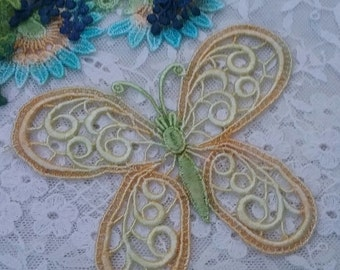Yellow Venise Lace Butterfly Hand Dyed Bridal  Lace Scrap Book Embellishment Applique