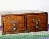Vintage Library Card File Cabinet / 2 Drawer Card Catalog Library Drawer