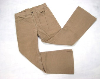 1970s Levi's 646 Big E Corduroy Pants Vintage Retro Beige Brown Flare Boot Cut Hippie Surf Skate Cords Jeans Size 30 x 28 Small