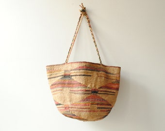 Vintage Handwoven Straw Beach or Market Tote Bag