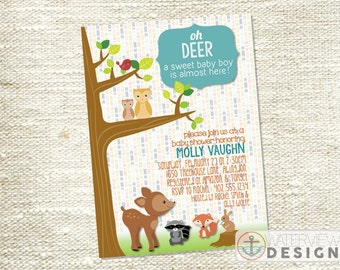 woodland animals baby shower invite // diy printable invitation