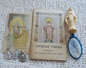 Vintage Miraculous Medals, Statue, Scapular & Prayers