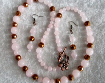 """Shop """"rose quartz beads"""" in Jewelry Sets"""