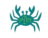 Large Crab with monogram vinyl decal
