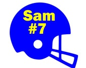 Large Football helment with monogram or name and number vinyl car decal