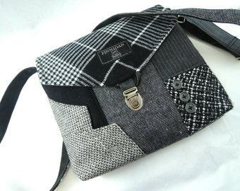 Crossbody bag, Crossbody Purse, Recycled Crossbody Purse, Handbag, Recycled wool, iPhone pocket,Recycled mens suit coat
