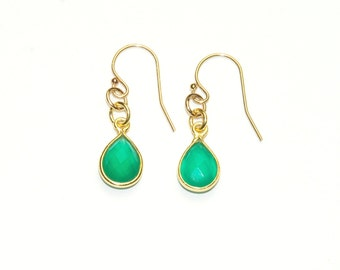 Green Onyx Earrings - Small Tiny Earrings - Gemstone earrings - May Birthstone - Emerald Green