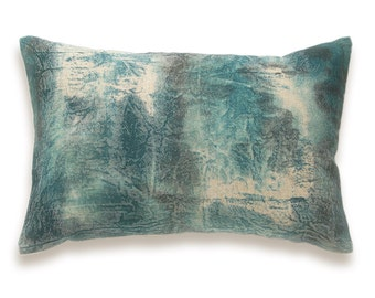 Teal Blue Green Charcoal Grey Beige Decorative Lumbar Pillow Cover 12x18 inch Natural Linen One Of A Kind