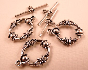 Silver Toggle Clasp 5 Toggle Clasp Sets Silver Clasp Silver Findings Silver Beads