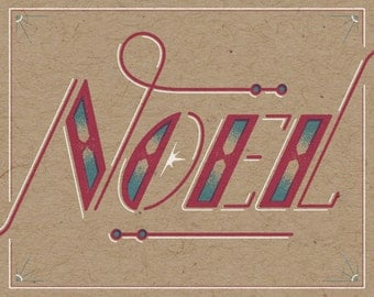 "Noel Holiday Print - 8"" x 10"" Art Print on 100# French Speckletone Kraft Cover, Vintage-Inspired"