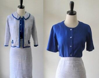 Vintage 1960s Suit 1960s Dress Suit Blue Linen Suit Three Piece Outfit Skirt Top Jacket Structured Suit Blue Dress Suit 1960s Clothes Med LG