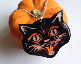 Halloween Retro Statement Black Cat Necklace Pendant with chain