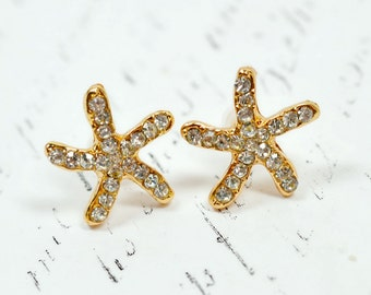 Gold Starfish Earrings, Gold and Crystal Earrings, Crystal Starfish Rhinestone Star Fish Stud Earrings, Sparkly Nautical Jewelry