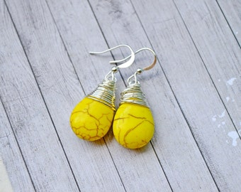 Bright Yellow Turquoise Earrings, Vibrant Lemon Yellow Faux Turquoise Teardrops, Silver Wire Wrapped Briolette Jewelry