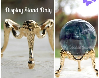 Crystal Ball Stand, Sphere Stand, Crystal Ball Display, Decorative Egg Stand, Globe Holder, Three Legged Gold Metal Egg Display Stand
