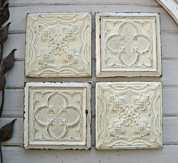 Tin ceiling tile set of 4 12 x 12 framed by driveinservice for Individual ceiling tiles for sale