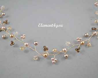 Bridal hair vines, Bridal hair accessory, Champagne gold hair vines, Pearls Crystals silver hair vines.