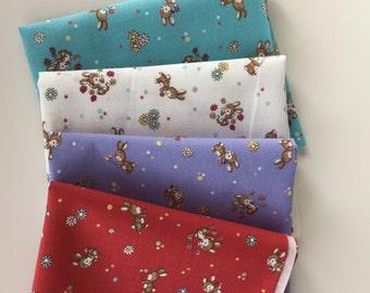 Yuwa Live Life Sunday 9 am bundle qua bunny Japanese quilt fabric - zakka