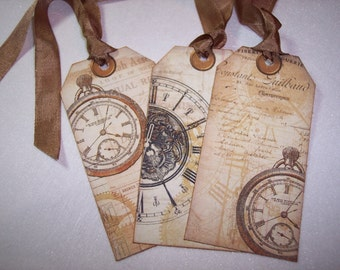 Vintage Steampunk Timepieces Ephemera Tags set of 6