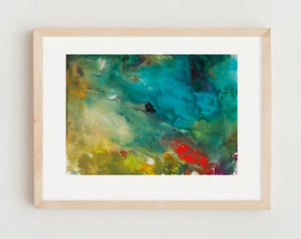 Abstract Art Landscape Monoprint on Paper One Only Blue Turquoise Green Yellow Ochre Contemporary Home Apartment Decor
