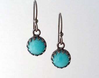 Round Amazonite Stone Oxidized Silver Earrings
