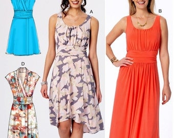Mock Wrap Dress Pattern, Pullover Stretch Knit Dress Pattern, McCall's Sewing Pattern 7350