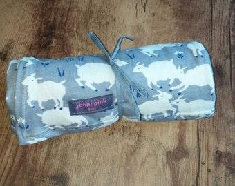 Organic Baby Blanket, Organic Swaddle Blanket, Organic Receiving Blanket, Gray Baby Blanket, Sheep Baby Blanket, Gifts for Babies