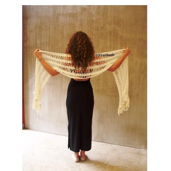 Rustic wedding ivory long crochet lace scarf white bridal fashion wrap shawl