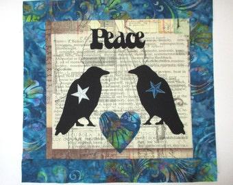 "Primitive Love Crows Fabric Quilt Block 13"""