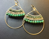 14k gold fill wrapped earrings in mixed metal and green turquoise