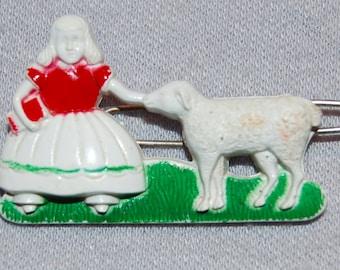 Vintage / Little Bo Peep / Sheep / Hair Clip / Barrette / old jewelry jewellery