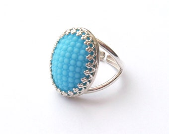 Sterling Silver Vintage Blue Ring, Textured Vintage Czech Glass Cabochon, Silver Ring, Adjustable Ring, or Choose Gold, Rose Gold, Bronze
