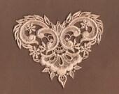 Hand Dyed Venise Lace Applique  Fancy Victorian Heart  Aged Light Blush