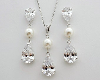 Bridal Jewelry Set Bridal Necklace Pendant Earrings and Necklace Wedding Set Cubic Zirconia Pearl Tear Drops Crystal Bridal Set, Eden