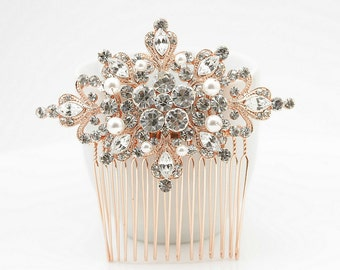 Rose Gold Bridal Hair Comb Bridal Hair Piece Bridal Jewelry Wedding Jewelry Pearl Bridal Headpiece