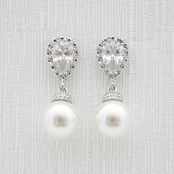 Pearl Bridal Earrings Bridal Jewelry Cream OR White Ivory Pearl Cubic Zirconia Posts Silver with Swarovski Wedding Jewelry, Ava